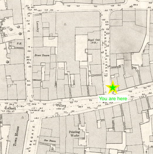 Map of town centre with cross saying you are here, High Street and Randolph Street junction.