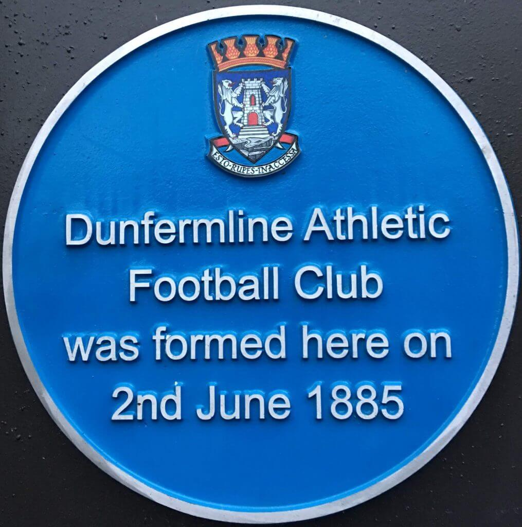 Blue plaque showing Dunfermline Athletic Football Club formed here 2 June 1885