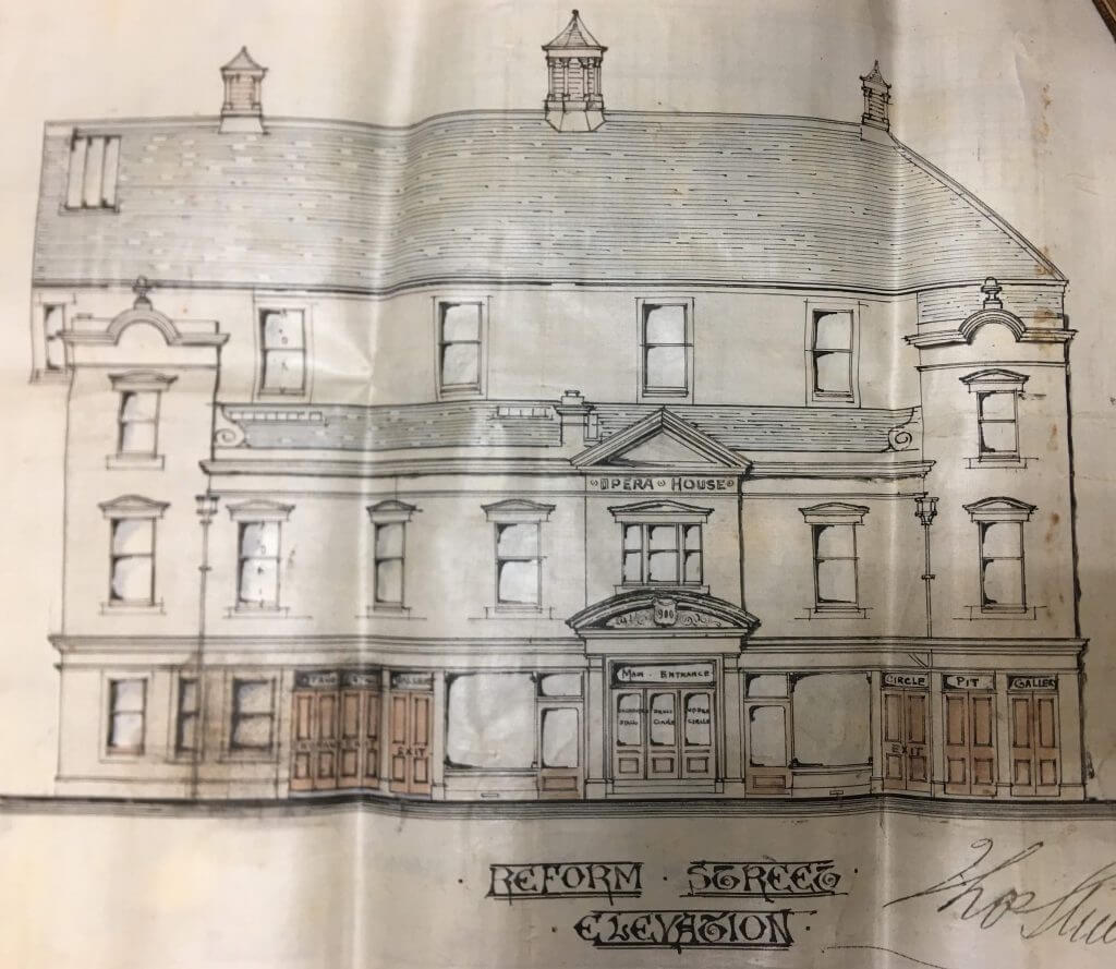 Architects drawing of Reform Street elevation of Dunfermline Opera House and Hippodrome